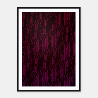 Miniatur Geometric Illusion pattern in deep red Framed poster, Live Heroes
