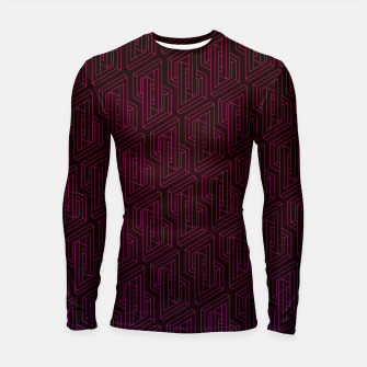Miniature de image de Geometric Illusion pattern in deep red Longsleeve rashguard , Live Heroes