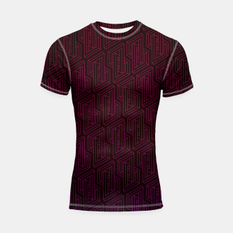 Miniatur Geometric Illusion pattern in deep red Shortsleeve rashguard, Live Heroes