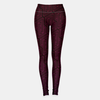 Miniatur Geometric Illusion pattern in deep red Leggings, Live Heroes