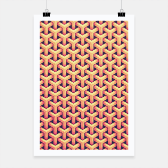 Miniatur Optical illusion - Impossible Pattern -  Gold Grid Pattern Poster, Live Heroes