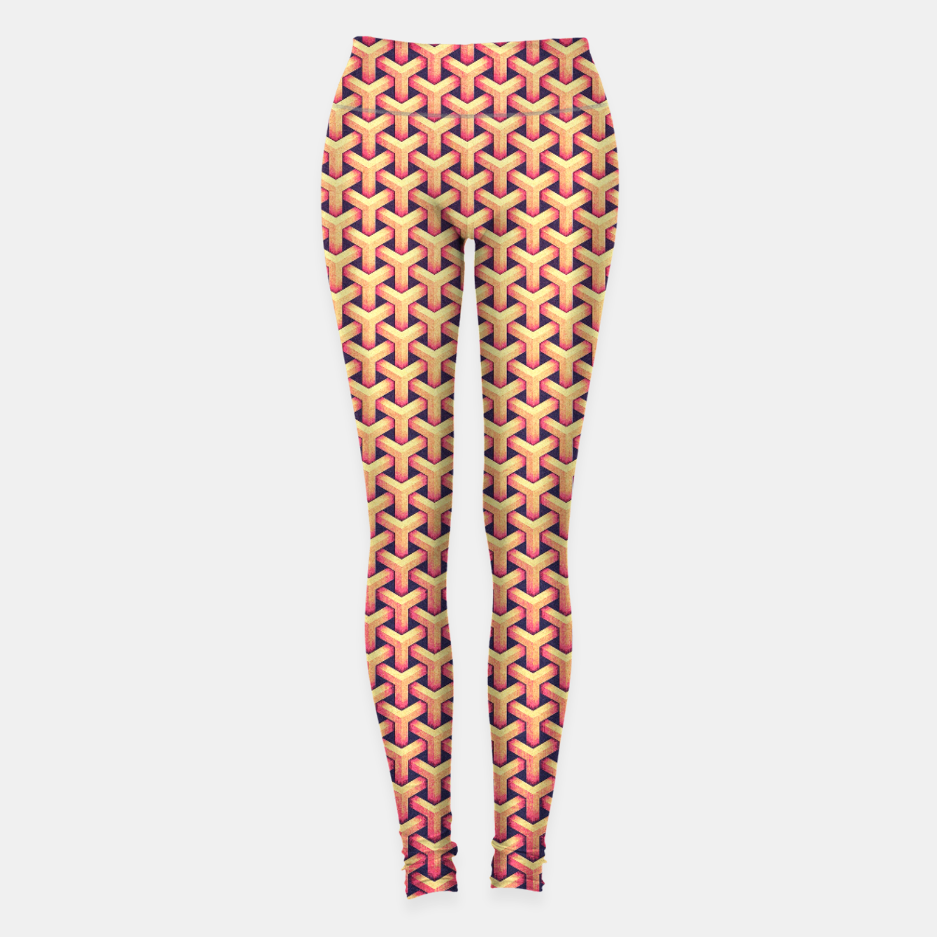 Image de Optical illusion - Impossible Pattern -  Gold Grid Pattern Leggings - Live Heroes
