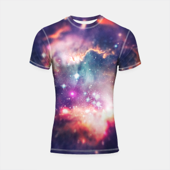 Miniatur The universe under the microscope (space tilt shift art) Shortsleeve rashguard, Live Heroes