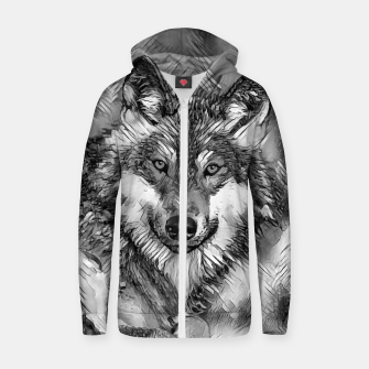 Miniaturka AnimalArtBW_Wolf_001_by_JAMFoto Cotton zip up hoodie, Live Heroes