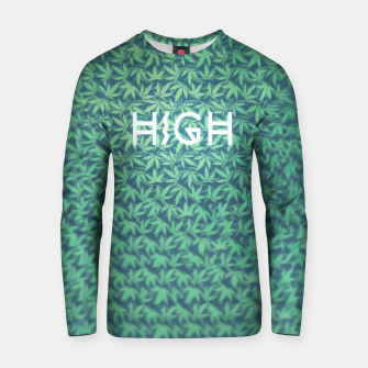 Miniatur HIGH! Typo Design Weed - Dope Leaf Pattern  Cotton sweater, Live Heroes