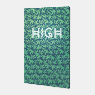 Miniatur HIGH! Typo Design Weed - Dope Leaf Pattern  Canvas, Live Heroes