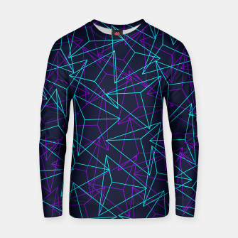 Miniatur DesignAbstract Geometric 3D Triangle Pattern in turquoise/ purple Cotton sweater, Live Heroes