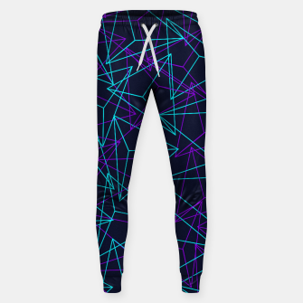 Miniatur DesignAbstract Geometric 3D Triangle Pattern in turquoise/ purple Cotton sweatpants, Live Heroes