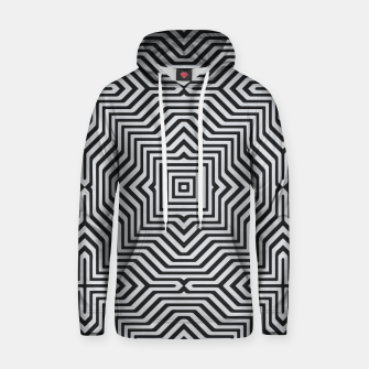 Miniature de image de Minimal Geometrical Optical Illusion Style Pattern in Black & White Cotton hoodie, Live Heroes