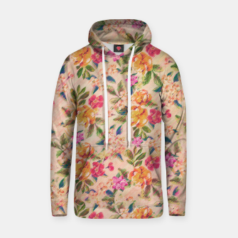 Miniatur Golden Flitch (Digital Vintage Retro / Glitched Pastel Flowers - Floral design pattern) Cotton hoodie, Live Heroes