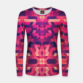 Miniatur Abstract Symertric geometric triangle texture pattern design in diabolic magnet future red Woman cotton sweater, Live Heroes