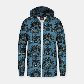 Thumbnail image of  Blue Ancient Mexican Myth Cotton zip up hoodie, Live Heroes