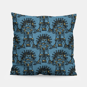 Thumbnail image of  Blue Ancient Mexican Myth Pillow, Live Heroes