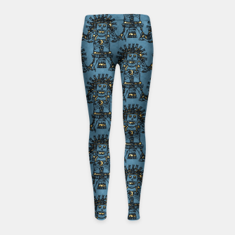 Blue Ancient Mexican Myth Girl's leggings thumbnail image