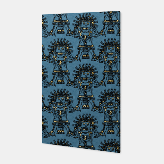 Thumbnail image of  Blue Ancient Mexican Myth Canvas, Live Heroes