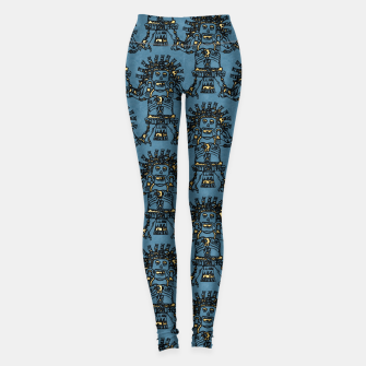 Thumbnail image of  Blue Ancient Mexican Myth Leggings, Live Heroes