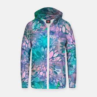 Painted Background Floral Pattern Cotton zip up hoodie imagen en miniatura