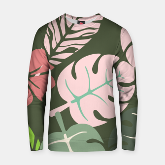Thumbnail image of Tropical leaves green and pink paradises  #homedecor #apparel #tropical Cotton sweater, Live Heroes