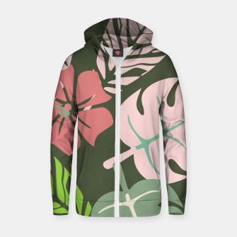 Thumbnail image of Tropical leaves green and pink paradises  #homedecor #apparel #tropical Cotton zip up hoodie, Live Heroes