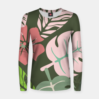 Thumbnail image of Tropical leaves green and pink paradises  #homedecor #apparel #tropical Woman cotton sweater, Live Heroes
