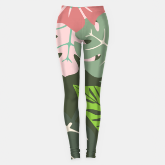 Thumbnail image of Tropical leaves green and pink paradises  #homedecor #apparel #tropical Leggings, Live Heroes