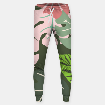 Thumbnail image of Tropical leaves green and pink paradises  #homedecor #apparel #tropical Cotton sweatpants, Live Heroes