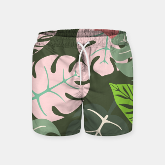 Thumbnail image of Tropical leaves green and pink paradises  #homedecor #apparel #tropical Swim Shorts, Live Heroes