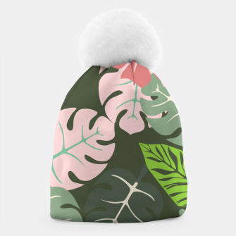 Thumbnail image of Tropical leaves green and pink paradises  #homedecor #apparel #tropical Beanie, Live Heroes