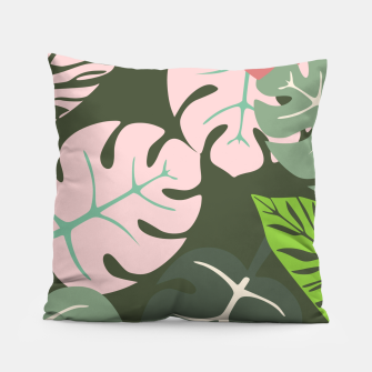 Thumbnail image of Tropical leaves green and pink paradises  #homedecor #apparel #tropical Pillow, Live Heroes