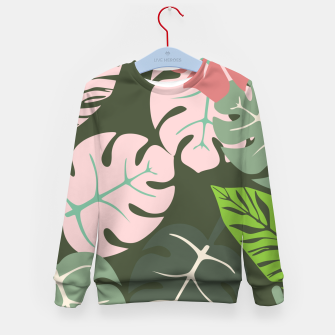Thumbnail image of Tropical leaves green and pink paradises  #homedecor #apparel #tropical Kid's sweater, Live Heroes