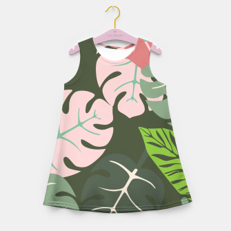 Thumbnail image of Tropical leaves green and pink paradises  #homedecor #apparel #tropical Girl's summer dress, Live Heroes