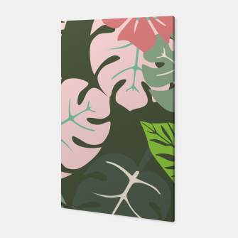 Thumbnail image of Tropical leaves green and pink paradises  #homedecor #apparel #tropical Canvas, Live Heroes