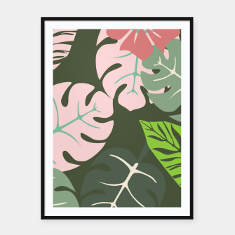 Thumbnail image of Tropical leaves green and pink paradises  #homedecor #apparel #tropical Framed poster, Live Heroes