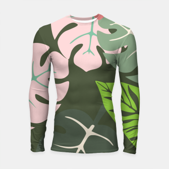 Thumbnail image of Tropical leaves green and pink paradises  #homedecor #apparel #tropical Longsleeve rashguard , Live Heroes
