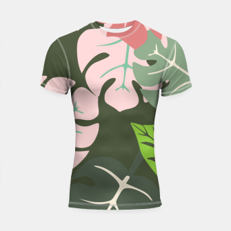 Thumbnail image of Tropical leaves green and pink paradises  #homedecor #apparel #tropical Shortsleeve rashguard, Live Heroes