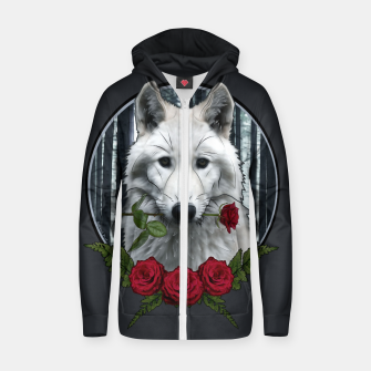 Thumbnail image of Wolf with Rose - Graphic Style Baumwoll reißverschluss kapuzenpullover, Live Heroes