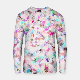 Thumbnail image of splash painting texture abstract background in pink blue yellow red Cotton sweater, Live Heroes