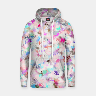 Thumbnail image of splash painting texture abstract background in pink blue yellow red Cotton hoodie, Live Heroes