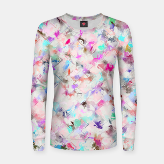 Thumbnail image of splash painting texture abstract background in pink blue yellow red Woman cotton sweater, Live Heroes
