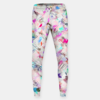 Thumbnail image of splash painting texture abstract background in pink blue yellow red Cotton sweatpants, Live Heroes
