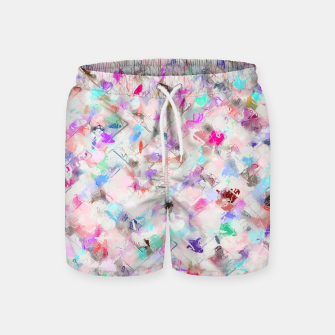 Thumbnail image of splash painting texture abstract background in pink blue yellow red Swim Shorts, Live Heroes