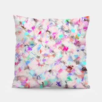 Thumbnail image of splash painting texture abstract background in pink blue yellow red Pillow, Live Heroes