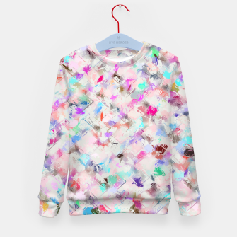 Thumbnail image of splash painting texture abstract background in pink blue yellow red Kid's sweater, Live Heroes