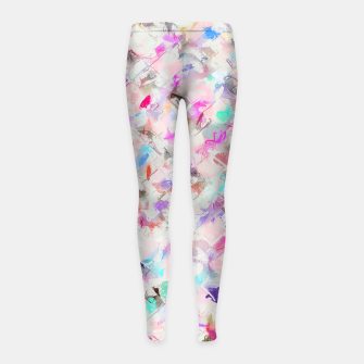 Thumbnail image of splash painting texture abstract background in pink blue yellow red Girl's leggings, Live Heroes