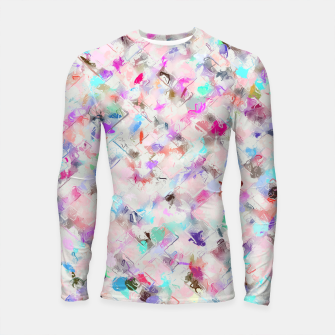 Thumbnail image of splash painting texture abstract background in pink blue yellow red Longsleeve rashguard , Live Heroes