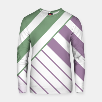 Miniaturka Green and Violet Stripes on White Cotton sweater, Live Heroes
