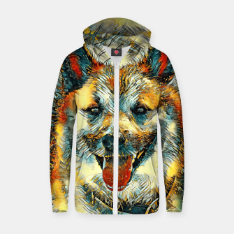Thumbnail image of AnimalArt_Dog_20170804_by_JAMColors Cotton zip up hoodie, Live Heroes