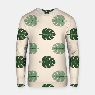 Thumbnail image of Tropical leaves Monstera deliciosa beige Cotton sweater, Live Heroes