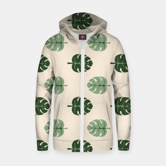 Thumbnail image of Tropical leaves Monstera deliciosa beige Cotton zip up hoodie, Live Heroes