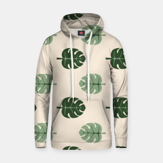 Thumbnail image of Tropical leaves Monstera deliciosa beige Cotton hoodie, Live Heroes